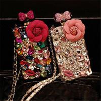 Wholesale perfumes case resale online - Luxury Bling Bling Diamond Crystal Rhinestone Flower Lanyard Perfume Bottle Case For iphone X s Plus Samsung S9 S9Plus S8 Note8