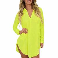 camisola mulheres venda por atacado-Atacado-6XL Sheer Chiffon Blusa 2017 Plus Size Mulheres Roupas de Manga Longa Outono Camisa de Marca Casual Solto Oversized Top Chemise Femme