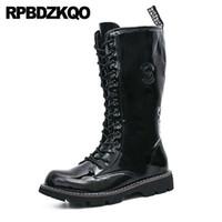 ingrosso scarpe da combattimento in vernice nera-Zipper Fashion Scarpe impermeabili nere Combat Army antiscivolo Plus Size Autunno Tall Mid Calf Mens stivali in pelle verniciata