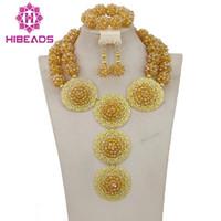 ingrosso insieme di sfera dell'oro dei monili-2017 Luxury Dubai Set di gioielli in oro Africano Perle da sposa Set di gioielli in cristallo per le donne Spedizione gratuita WB007