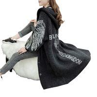 ingrosso caldi cardigan con cappuccio lungo lana-Angel Wings Faux Cashmere spesso caldo invernale Cardigan lungo femminile Hooded maglione oversize per donna Nero Maglione donna di lana