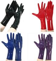 ingrosso guanti di costume in lattice-2018 classic Latex Gothic Sexy Lingerie Women Short crimping Gloves Crimping Side Fetish Wrist No Dita Femminile