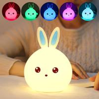 bebekler için gecelik hafif oyuncaklar toptan satış-Tavşan Silikon LED Gece Lambası Renkli Silikon Dokunmatik Sensör Dokunun Kontrol Nightlight USB Şarj Edilebilir Bebek Çocuklar Için Başucu Lambası Oyuncaklar