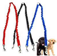 Wholesale double nylon dog collars resale online - High Elasticity Nylon Double Dog Leashes Sturdy Outdoor Walking Pets Rope Durable High Quality Dog Use Leashes sm Z