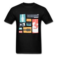 Wholesale Popular Guitars - Musically T-Shirt Man Big Size Guitar Collage Tees Popular Gift Garment Male T Shirts Tops