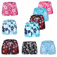 Wholesale hot swim shorts women - Ladies Beach Floral Board Shorts Swimming Hot Pants Hawaiian Summer Flower Print Women Shorts Casual Surf Board Shorts 5COLORS FFA141 20PCS