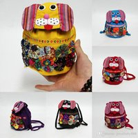 Wholesale folk dog - Fashion children Patchwork dog Messenger bag folk-custom Backpacks Outdoor Travel Bags 11 colors Shoulder Bags C2872
