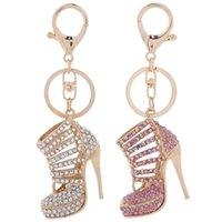 porte-clés pour les filles achat en gros de-Cristal Talons Hauts Chaussures Porte-clés Anneaux Chaussure Pendentif Sac De Voiture Porte-clés Pour Les Femmes Fille Porte-clés Cadeau