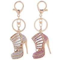 llaveros para niñas al por mayor-Zapatos de tacones altos de cristal llaveros anillos zapato colgante bolsa de coche llaveros para mujer niña llaveros regalo