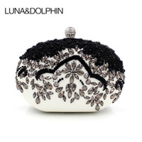 Wholesale vintage beaded evening bags - Luna&Dolphin Women Fashion Clutch Bags White Black Vintage Day Clutches Bag Evening Beaded Pearl Purses Gift For Lady