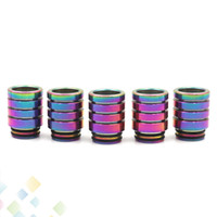 Wholesale tfv8 drip tip metal resale online - Rainbow Stainless Steel Metal Thread Drip Tip Wide Bore Vape Mouthpiece For TFV8 TFV12 Prince Tank OPP Packaging DHL Free