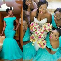 aqua blau spitze brautjungfer kleider großhandel-Aqua Blue Mermaid Brautjungfer Kleider Südafrika Mädchen weg von der Schulter Open Back Lace Tüll Brautjungfern Kleid Bridal Party Kleider für Gäste