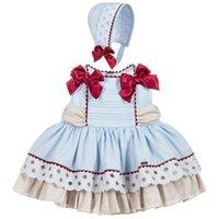 freies geburtstagskleid mädchen großhandel-DHL-freies Qualitäts-Spanien-Artbabykleid stellt runder Kragen sleeveless Prinzessin dress + hat Geburtstagskleid 2-6T ein