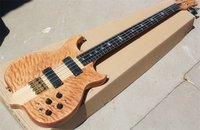 Wholesale customize bass guitar for sale - Special system natural wood color string bass electric guitar With gold hardware flame maple veneer can be customized Real photo displ