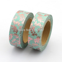 Wholesale washi tape resale online - Decorative Delicate Branches Foil Washi Tape Blue Copper Floral mm x Meters Adhesive Masking Tapes Paper for Scrapbooking