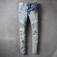 Wholesale Arcade Lights - European Arcade High Vehicle Jeans Male Tide Foreign Trade Light Colour Wash Do Used Holes Embroidered Self-cultivation Cowboy Trousers Male