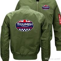 Wholesale Men Fur Thickening Coat - triumph motorcycles Bomber Flight Flying Jacket Winter thicken Warm Zipper Men Jackets Anime Men's Casual Coat sw2