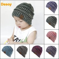 Discount easter hats for babies - Designer Children Acrylic Winter Beanie Rib Knit CC Beanies Baby Fancy Head Ear Warmer Slouchy Snow Cap For Kids Cable Knitted Gorro Gift