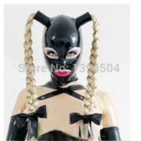 Wholesale sexy zentai girl - 2018 New hot sexy exotic women woman girl Latex Mask Twist braids female pigtail hoods Fetish cekc uniform headgear zentai 1 piece