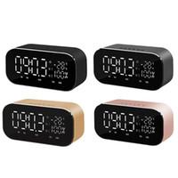alarme de data venda por atacado-Alto-falante Bluetooth Suporte de Mesa Relógio de Temperatura Display LCD Rádio FM TF Relógio Despertador Data de Exibição Home Decor