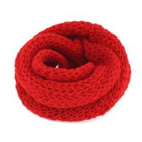 зимние сплошные цветные шарфы оптовых-1 pc Hot Sale Hand Knitting Wool Scarf Children Girls Winter Warmer Protect The Ears Solid Color Neck Scarves