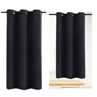 Wholesale Curtains Fabric For Room - WINOMO Blackout Curtain Room Darkening Thermal Insulated Grommet Drape for Living Room Bedroom 42 x 67 Inch (Black)