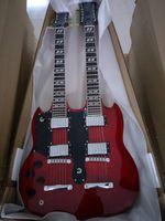 linkshändige 12-saitige gitarren großhandel-Benutzerdefinierte 1275 Double Neck Linkshänder Gitarre Doppelhals 6/12 Saiten 12 Saiten E-Gitarre in rot Kostenloser Versand