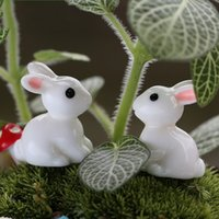 Wholesale resin garden ornaments - Moss Micro Landscape Ornament Lovely Aminal Rabbit Resin Arts And Crafts Easter Fairy Garden Decorations Hot Sale 0 22dd CB