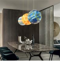 quecksilber anhänger großhandel-Nordic Creative Universe Planet Acryl Pendelleuchte Mond Sonne Erde Mars Uranus Merkur Jupiter Saturn Planet Lampen