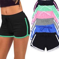 Wholesale cotton spandex yoga pants online - Women Summer beach Shorts solid Casual Yoga Gym Running Sport Fitness Short Pants Cotton Leisure Homewear FFA203 colors