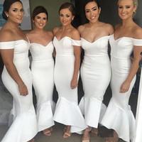 длина до лодыжки плюс размер платья оптовых-Арабский плюс размер платья русалки подружки невесты 2018 с плеча деревенский сад длиной до лодыжки длинная фрейлина свадебные платья для гостей