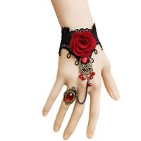 anillo de pulsera de encaje flor rosa al por mayor-Pulseras para mujeres Gothic Bridal Black Lace Red Flower Rose Stone Bead Drop Chunky anillo ajustable pulsera Vintage Set WS229