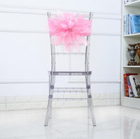 Wholesale fabric sheers - Organza Chair Sashes Chair Bows Wedding Party Xmas Chair Sashes Banquet Decoration Sheer Organza Fabric Pack