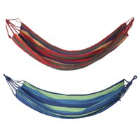 Wholesale ship hanging swing resale online - Ship From RU Outdoor Portable Hammock Home Garden Travel Sports Camping Canvas Stripe Hang Swing Single Bed Hammock cm