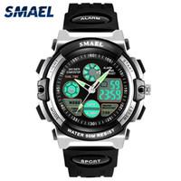 цифровые часы для дайвинга оптовых-SMAEL Цифровые часы Kids Dive 50M Водонепроницаемые наручные часы Children S Shock Watch 0508 LED Часы Детские спортивные часы для мальчиков