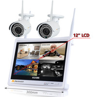 kablosuz kamera setleri toptan satış-2CH 1080 P 2MP Kablosuz Güvenlik CCTV IP Kamera Sistemi NVR LCD Monitör Ses Kayıt wi-fi Video Gözetim Kitleri Set HD Dadı
