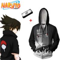 ingrosso fasce asiatiche-Asian Size Japan Anime Naruto Sasuke Costume Cosplay casual 3D Unisex Baseball Coat manica lunga morbido giacca con cappuccio fascia