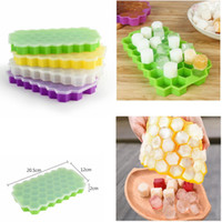 Wholesale freezer boxes food storage resale online - 37 Holes Hexagon Ice Mold with lids Silicone Yogurt Ice Box Freezer Ice Cream Tools Cube Mold Tray GGA457