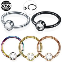 nostril rings 2018 - 1PC G23 Titanium Round Beads Nose Ring Nostril Hoop Gem CBR Ball BCR Helix Piercing Labret Lip Rings Piercing Body Jewelry 16G