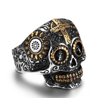 mexican crosses UK - Punk Rock Style 316L Stainless Steel Cool Steampunk Flower Skull Ring Mens Cool Biker Cross Ring