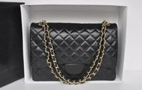 Wholesale patchwork wristlet - Best-selling High quality Brand design Maxi Jumbo XXL Plaid Chain bag Lambskin Fashion Woman Caviar Leather Shoulder Flap Bag 58601 Handbag