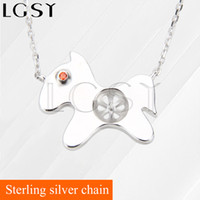 """Wholesale 925 silver dog chain necklace - Fashion Charm 1 Piece 925 Sterling Silver Necklace Chain with A DIY Lovely Dog Pearl Pendant Accessories, 16.5'' + 2"""" Extender"""
