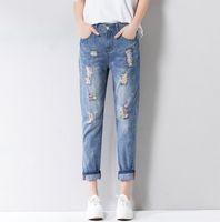 Wholesale Tie Dye Jeans Women - 2018 Fashion Women Jeans Soft Ankle-Length Casual Harem Denim Hole Colorful Print Cowboy Femme Cotton Harem Pants Loose Trousers