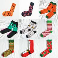 erwachsene röhrensocken großhandel-19 Arten Weihnachten Halloween Socken Kinder Erwachsene Weihnachten Kürbis Weihnachtsmann Druck Socken Baumwolle Unisex Mid Rohr Socken C5117