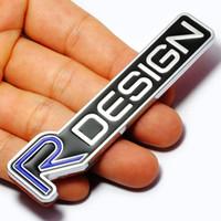 volvo rozeti toptan satış-3D Metal R TASARıM RDESIGN Mektup Amblem Rozet Araba Sticker Araba Styling Çıkartması için Volvo XC60 XC90 S60 S80 S40 V40 V60 V70 V50 XC70