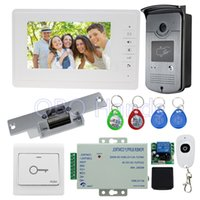 Wholesale rfid door lock kit - 7'' wired video door phone intercom system kit set with RFID IR outdoor camera video doorbell+EM lock+power+door switch cheap