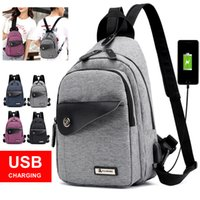 hombres bolsa pecho pequeño al por mayor-Nuevo USB Charging Men Women Chest Pack Crossbody Bag Casual Travel Mochila Chest Bag Small Sling Bags Mujeres Shoulder Back Pack