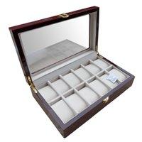 caixa de coleta de relógio de madeira venda por atacado-Luxo 12 Slots De Madeira Laca Brilhante Assista Caixa de Exibição de Coleta de Jóias Drop Shipping Supply, Box Relógios Recolher Caixas de Presente de Casa de Negócios