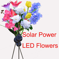 Wholesale led light yard stakes for sale - Solar Power simulation flower LED Fake Tulip Flower Garden Stake Landscape Lamp Outdoor Yard Party Decor Light