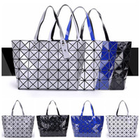 Wholesale Handbag Mirror Silver - Women Tote Fold Geometic Handbag Laser Geometric Hand Bags Sequins Mirror Saser Plain Folding Handbags Shoulder Bags 4 Colors LJJO4540